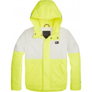 Tommy Hilfiger kids boys neon bonded jacket tussenjas in de kleur safety yellow geel