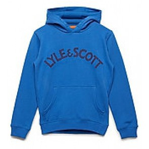 Lyle and scott hooded sweater trui met logo print in de kleur blauw