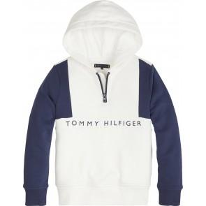Tommy Hilfiger hooded trui met logo print in de kleur wit/blauw