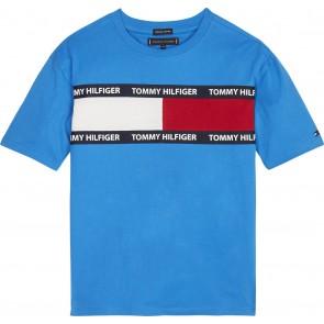 Tommy Hilfiger t-shirt met logo in de kleur kobalt blauw