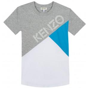 Kenzo kids t-shirt met logo in de kleuren grijs/blauw/wit