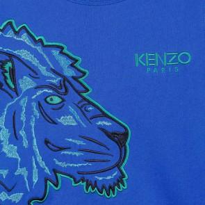 Kenzo kids boys sweater met tijgerkoppen en logo in de kleur kobalt blauw