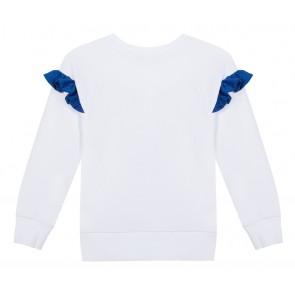 Kenzo kids girls sweater tiger met blauwe roezels in de kleur wit