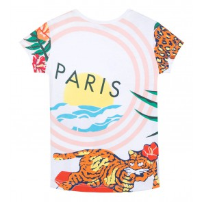 Kenzo kids girls hawaii all over print shirt in de kleur multicolor