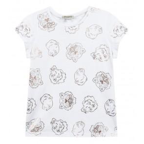 Kenzo kids girls t-shirt met tijgerkoppen print in de kleur wit