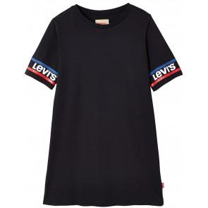 Levi's kids t-shirt jurk met logo op de mouw in de kleur zwart