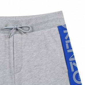 Kenzo kids sweatshort korte broek met kobalt blauwe logobies in de kleur grijs