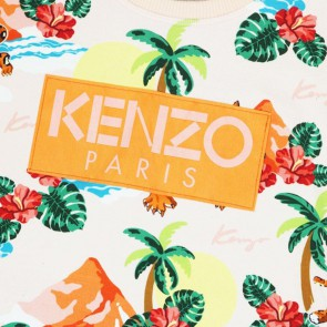 Kenzo kids tropical print sweater trui in de kleur light pink zachtroze
