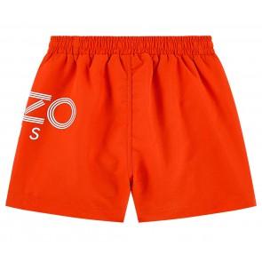 Kenzo kids boys swimpants zwembroek met logo print in de kleur oranje