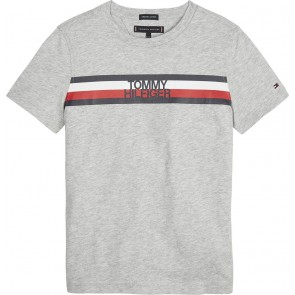Tommy Hilfiger kids boys essential global shirt stripe tee in de kleur grijs