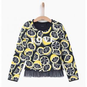 IKKS sweater trui met los shirt en print van citroenen in de kleur blauw/geel