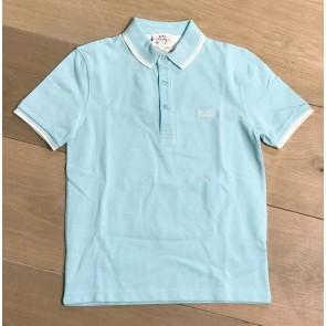 Hugo Boss kids polo shirt met witte bies in de kleur lichtblauw
