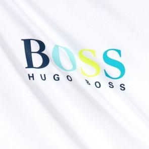 Hugo Boss t-shirt met gekleurde logoprint in de kleur wit