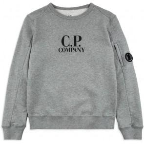 CP Company crew neck sweater trui met logo print in de kleur grijs