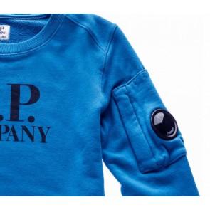 CP Company crew neck sweater trui met logo print in de kleur kobalt blauw