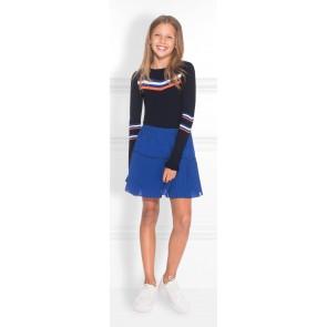 NIK en NIK Joshy Jolie top met blauw/oranje/witte strepen en trompetmouw in de kleur donkerblauw