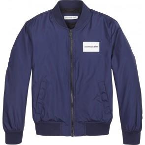 Calvin Klein Jeans zomerjas bomberjack met logo in de kleur donkerblauw
