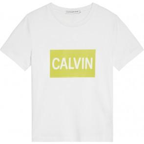Calvin Klein Jeans t-shirt met geel logoblok in de kleur wit