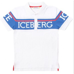 Iceberg kids boys polo shirt met logo in de kleur wit