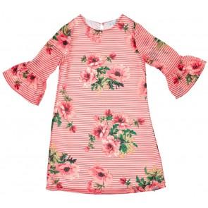 Gymp kids gestreepte jurk met bloemenprint in de kleur roze