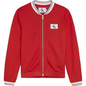 Calvin Klein Jeans bomber vest met logo op rug in de kleur rood