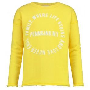 Penn & Ink kids sweater trui met logo in de kleur geel