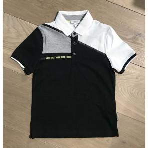 Hugo Boss kids polo shirt met gele details in de kleur zwart/wit