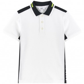 Hugo Boss kids polo shirt met brede logo bies in de kleur wit