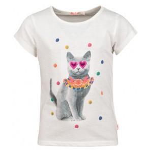 Billieblush shirt met gekleurde foto van kat in de kleur off white