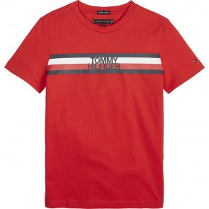 Tommy Hilfiger kids boys global stripe tee in de kleur rood