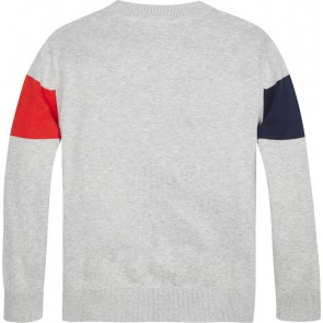 Tommy Hilfiger kids boys color block fijngebreide trui in de kleur grijs