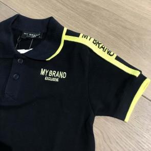 My brand junior kids polo shirt met gele bies in de kleur donkerblauw