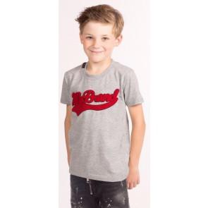 My brand junior kids boys shirt met rood logo in de kleur grijs