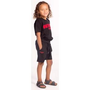 My brand junior kids boys shirt met rood logo in de kleur zwart