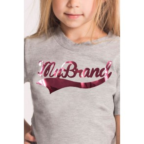 My brand junior kids girls shirt met metallic roze logo in de kleur grijs