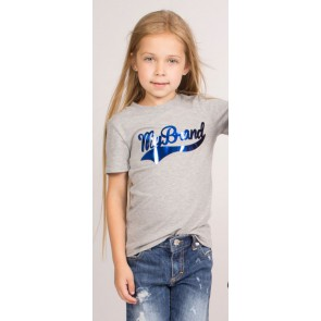 My brand junior kids girls shirt met metallic blauw logo in de kleur grijs