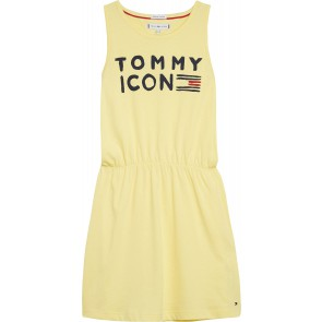Tommy Hilfiger kids girls logo print dress jurk in de kleur zachtgeel
