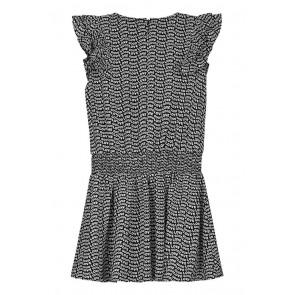 Nik en Nik girls Basha dress jurk met all over tekst print in de kleur zwart/wit