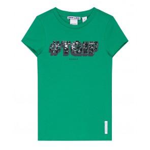 Nik en Nik girls TGIF pailletten wrijf shirt in de kleur groen