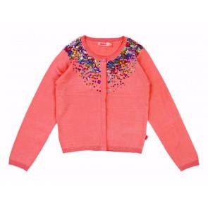 Billieblush fijngebreid vest met pailletten in de kleur fel roze