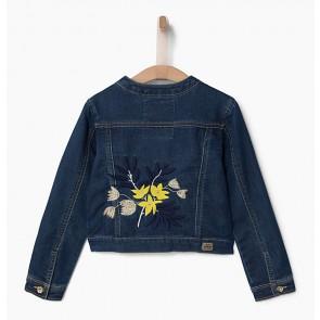 IKKS jeans jasje met borduursels op het achterpand in de kleur jeansblauw