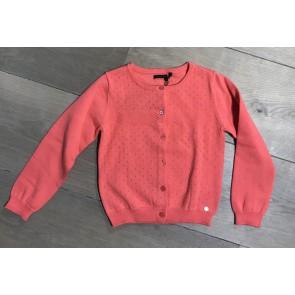 IKKS junior girls fijngebreid ajour vestje in de kleur zalmroze
