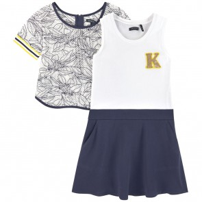 IKKS girls 2-in-1 jurk en top in de kleur donkerblauw