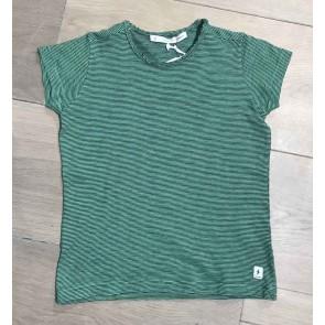 Penn&Ink shirt met fijne streepjes in de kleur gras groen