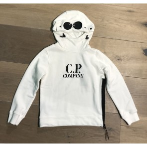 CP company under sixteen kids hooded sweater trui met bril in de kleur off white