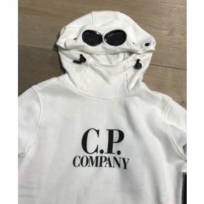 CP company under sixteen kids hooded sweater trui met bril in de kleur off white