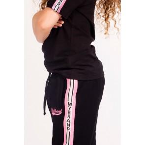 My Brand sweat broek met sportieve roze bies in de kleur zwart