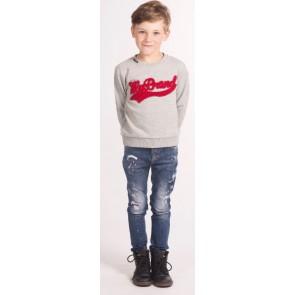 My Brand Junior sweater trui met rood logo in de kleur grijs