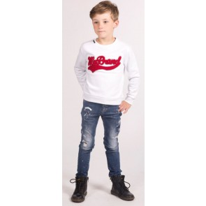My Brand Junior sweater trui met rood logo in de kleur wit