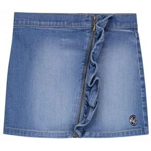 NIK en NIK Cece skirt denim rok met roezel en rits in de kleur jeansblauw